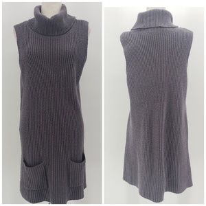 Leith Gray knit sleeveless cowl neck sweater dress